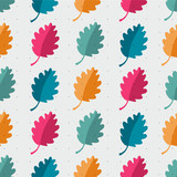 Autumn abstract oak leaf vector seamless pattern.