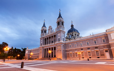 Almudena  cathedral at Madrid  in evening