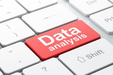 Data concept: Data Analysis on computer keyboard background