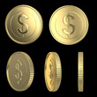 Golden dollar coins on black isolated with clipping path