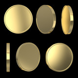 Golden blank coins on black isolated with clipping path
