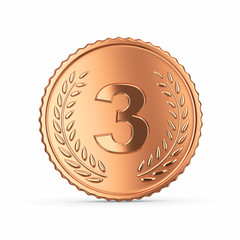 Bronze medal 3D render - isolated with clipping path