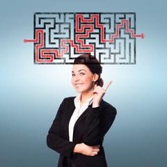 Geschäftsfrau mit Lösung zu einem Problem