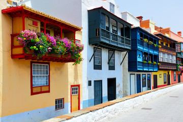 Colorful houses with balconies