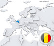 Belgium on map of Europe