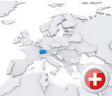 Switzerland on map of Europe