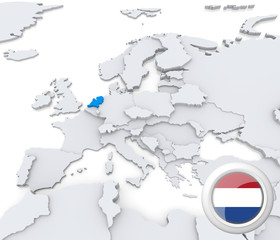 Netherlands on map of Europe