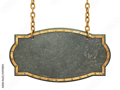Empty metal signboard hanging on brass chains