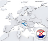 Croatia on map of Europe