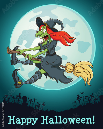 The witch flying on a broom at full moon