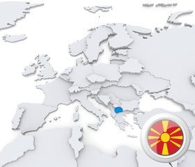 Macedonia on map of Europe