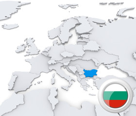 Bulgaria on map of Europe