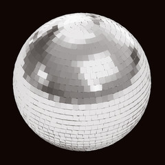 Silver disco ball on black isolated with clipping path