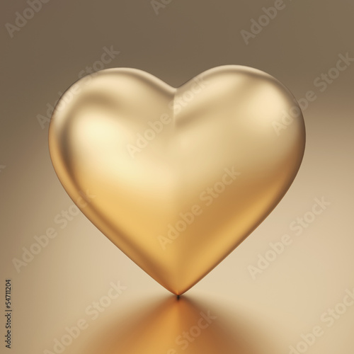 Golden heart 3d render isolated with clipping path