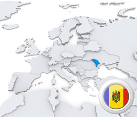 Moldova on map of Europe