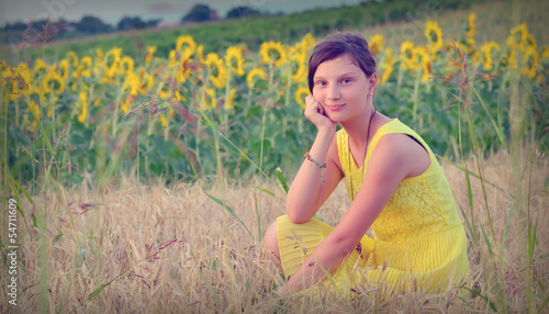 teen girl and sunflower