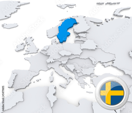 Sweden on map of Europe