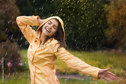 Happy woman enjoying in nature