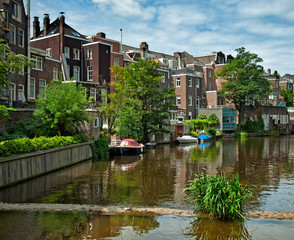 Houses along the canal in Amsterdam, the Netherlands