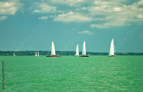 Sailboats on lake Balaton, Hungary
