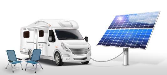 Elektro - Wohnmobil mit Solarpanel