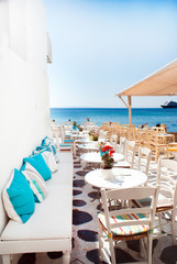 Traditional greek cafeteria on Mykonos island, Greece