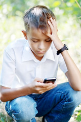 boy ten years with Cell Phone