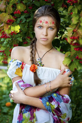 Beautifu ukrainian girl in traditional dress