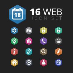 16 Hexagon Colored Web Icons set