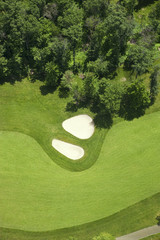 Aerial view of a golf fairlway and bunkers