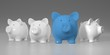 Piggy bank - row with big blue pig