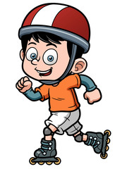 Vector illustration of Roller Skating Boy