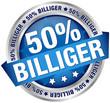 """Button Banner """"50% billiger"""" blau/silber"""
