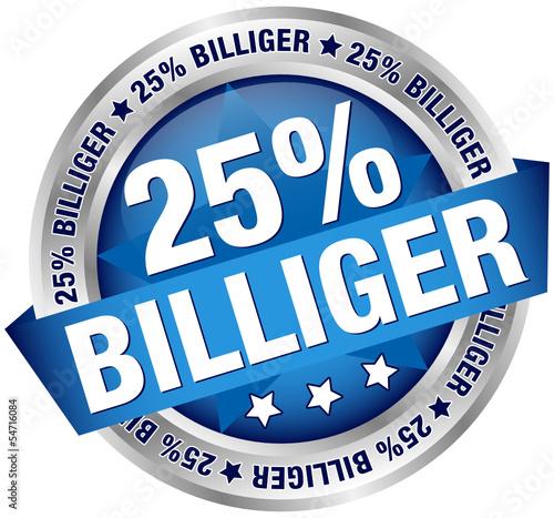 """Button Banner """"25% billiger"""" blau/silber"""