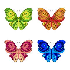 Set of colorful butterflies with ornament