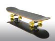 Skateboard deck on full reflection