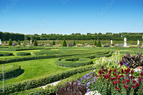 Boxwood decorations and flowers in Herrenhausen Gardens, Hanover