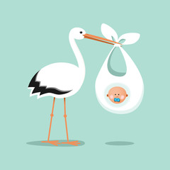 Stork carrying a cute baby