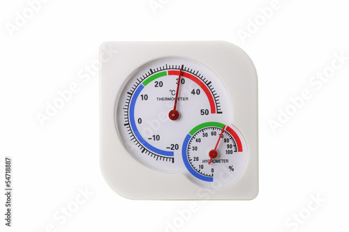 Thermometer and Hygrometer isolated on white background