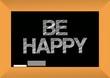 be happy text written on a blackboard.