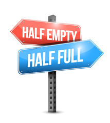 half full, half empty road sign illustration
