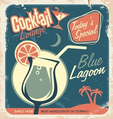 Promotional retro poster design for cocktail bar