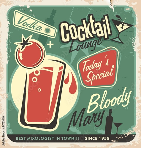 Retro cocktail lounge vector poster design