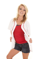 woman in a baseball shirt over red