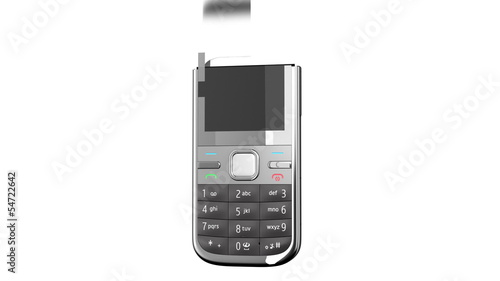 Mobile phone on white background. HD. Mask.