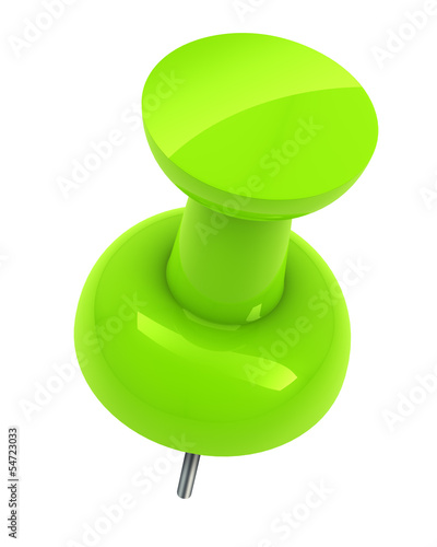 Green push pin isolated white background.