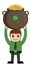 Man Holding Cauldron on St. Patrick's Day