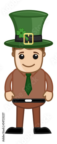 Man with Leprechaun Hat on St. Patrick's Day