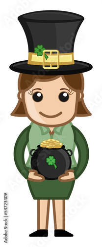 Female Leprechaun with St. Patrick's Day Cauldron