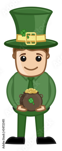 Cartoon Leprechaun with St. Patrick's Day Cauldron